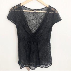 Apt 9 Black Lace V Neck Top